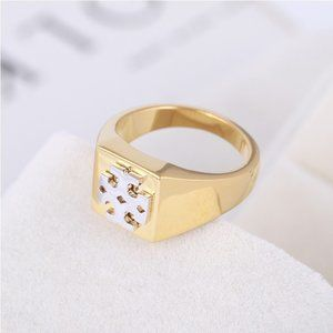 Tory Burch Gold Exaggerated Logo Ring